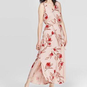 Floral print sleeveless v-neck dress
